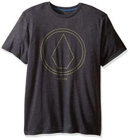 Volcom Young Men's Volcom Men's Pin Line Stone Modern Fit Short Sleeve Shirt Shirt, -Heather black, XL