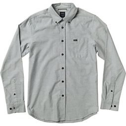 RVCA Men's That'll Do Oxford Long Sleeve Woven Shirt, Pavement, Large